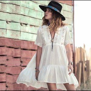 BOHO Floral Lace Detail Cotton Tunic Dress